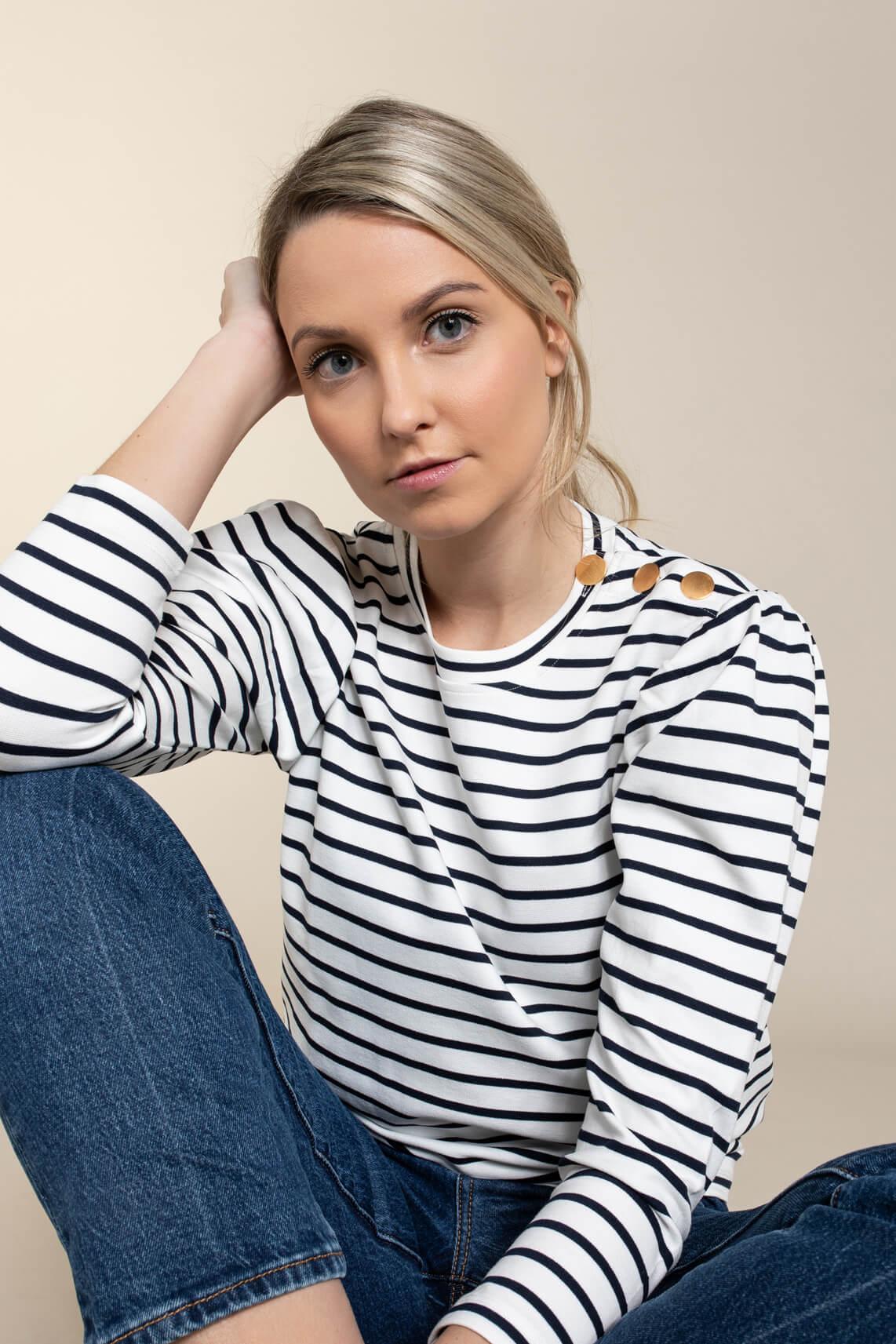 Anna Dames Gestreept shirt wit