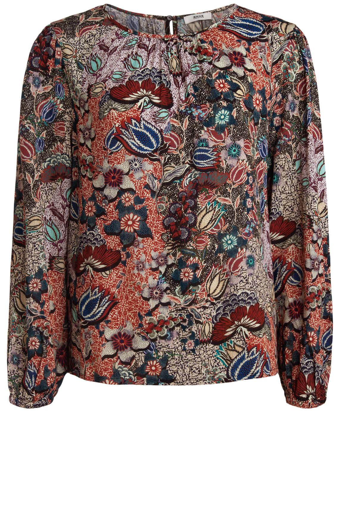 Anna Dames Floral blouse Blauw