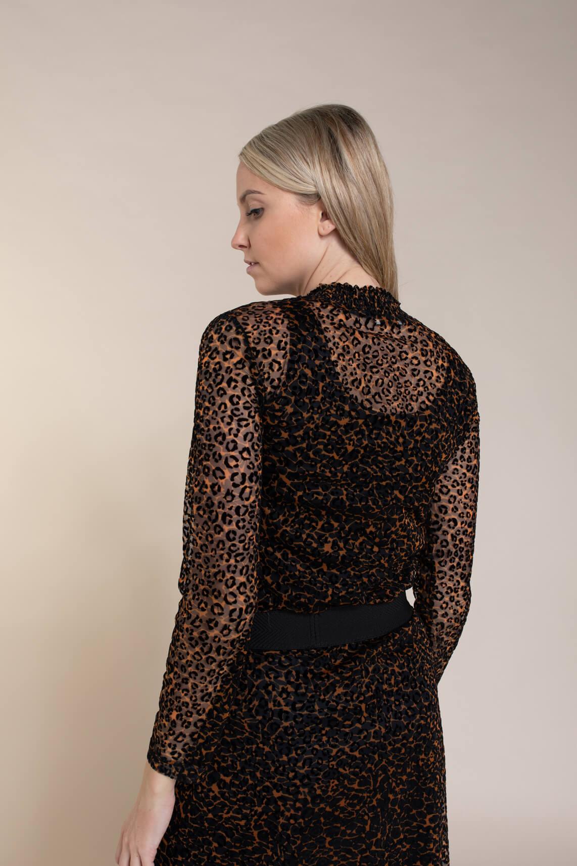 Anna Dames Panterprint mesh shirt zwart