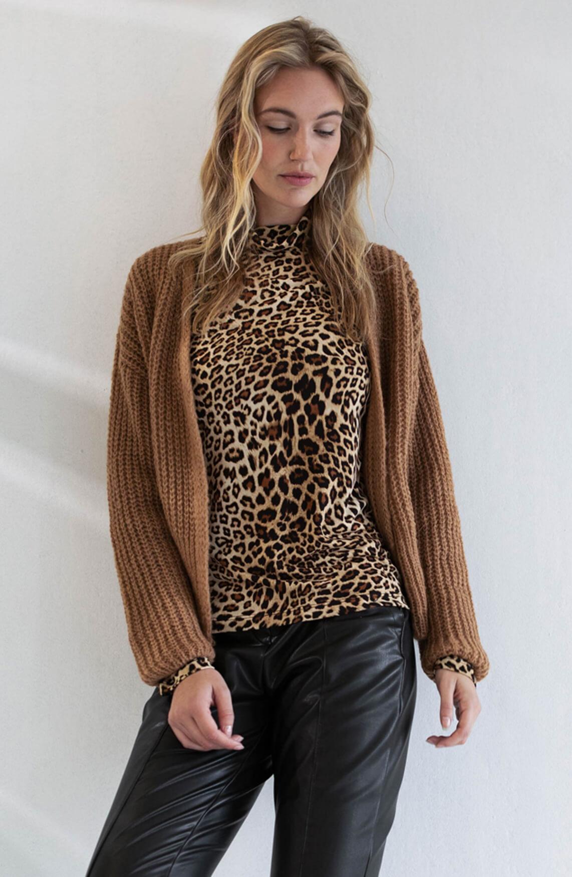 Anna Dames Panterprint shirt Bruin