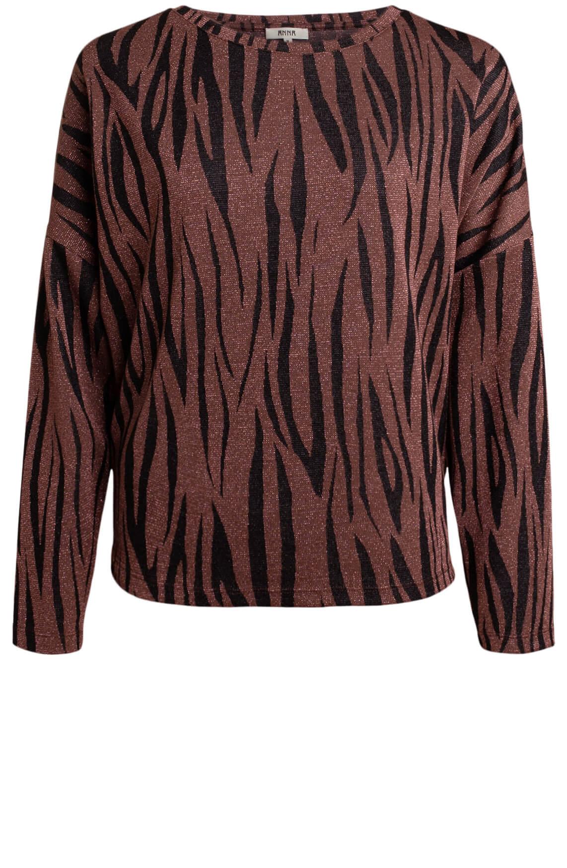 Anna Dames Zebra lurex shirt roze