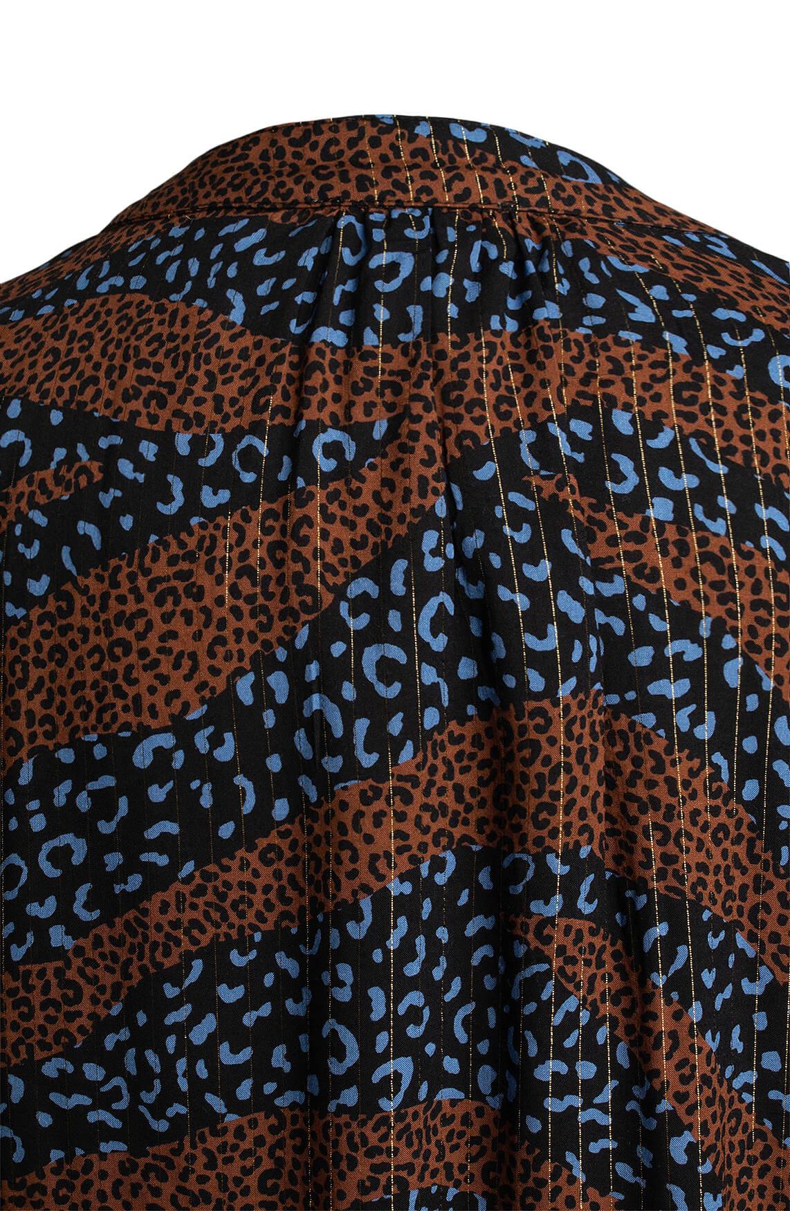 Anna Dames Panterprint blouse Blauw