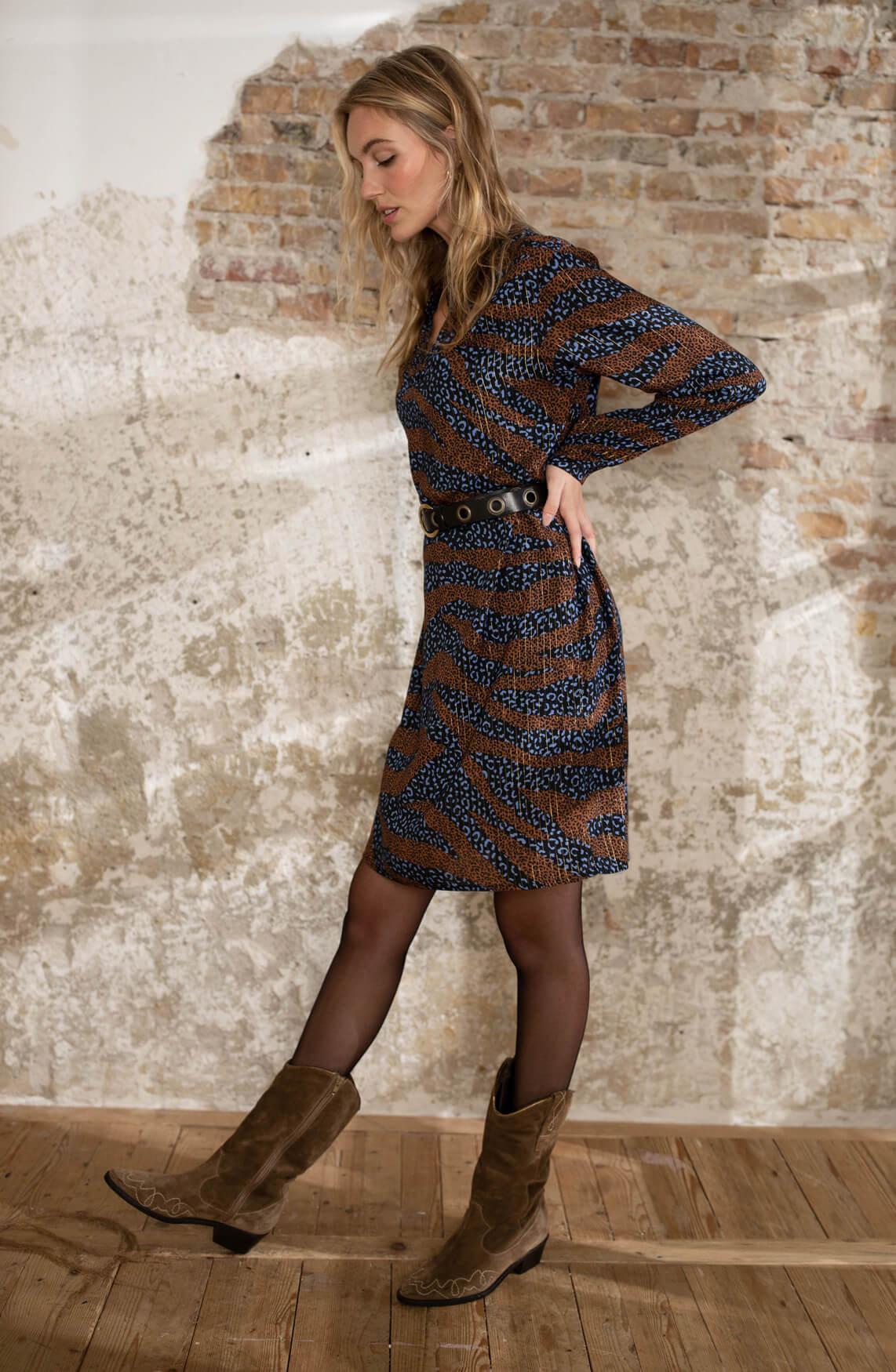 Anna Dames Panterprint jurk Blauw