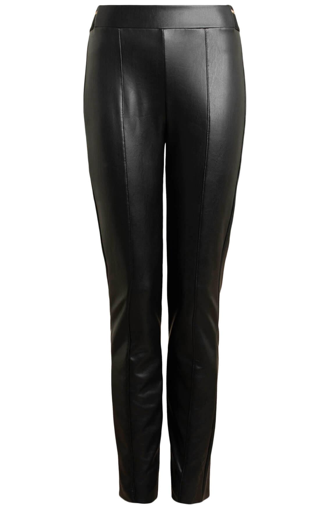 Anna Dames Vegan leather broek zwart