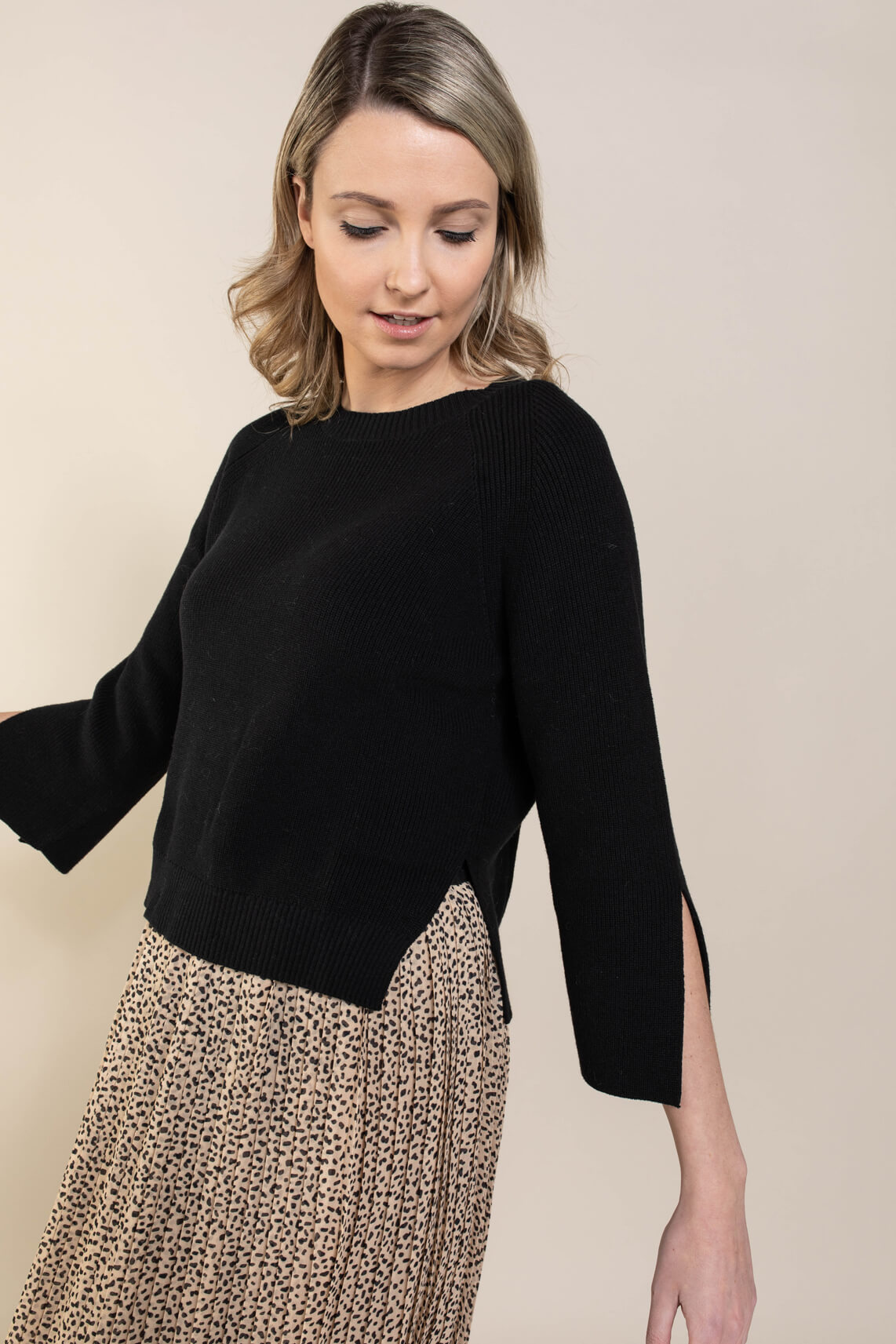 Riani Dames Pullover met split Zwart