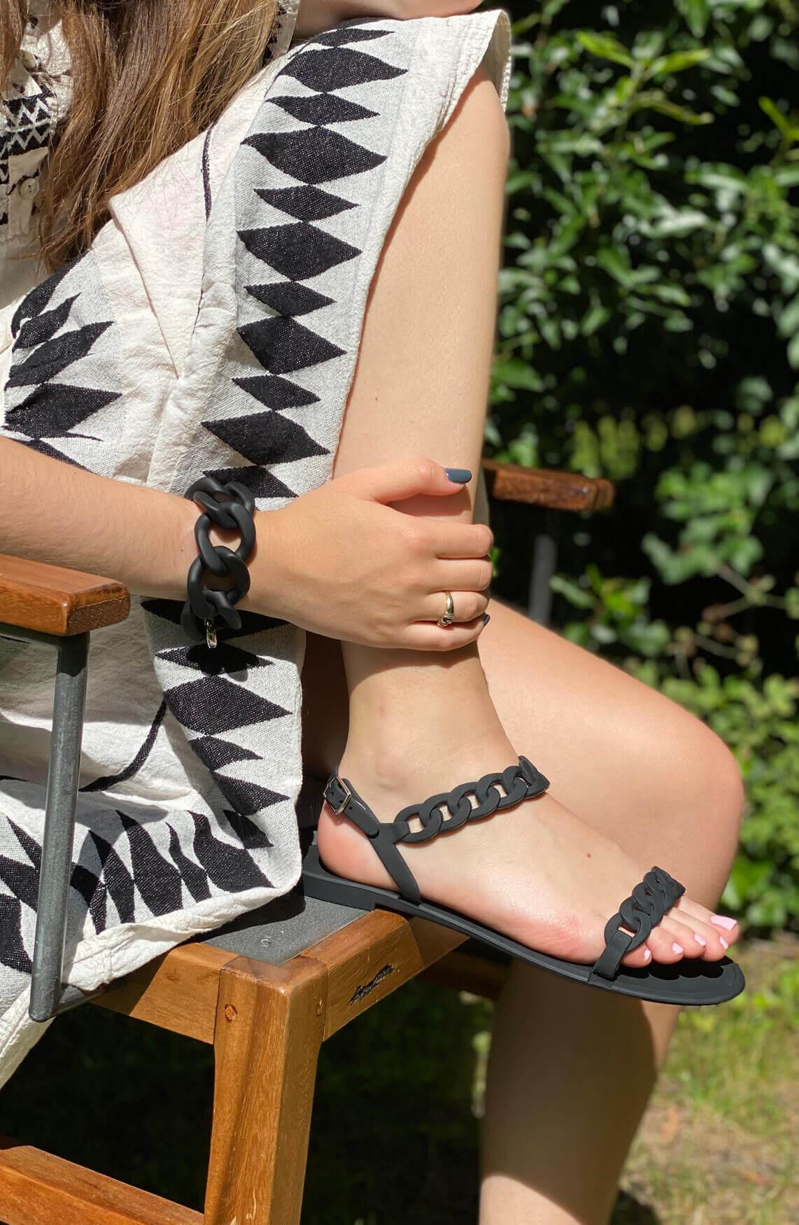 Lins. Amsterdam Dames Lins sandaal zwart
