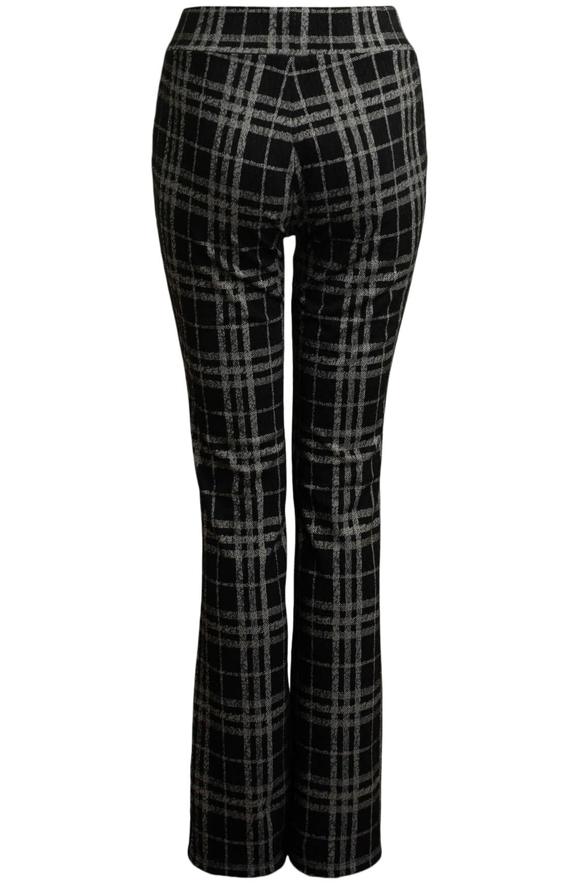 Anna Dames Geruite pantalon zwart