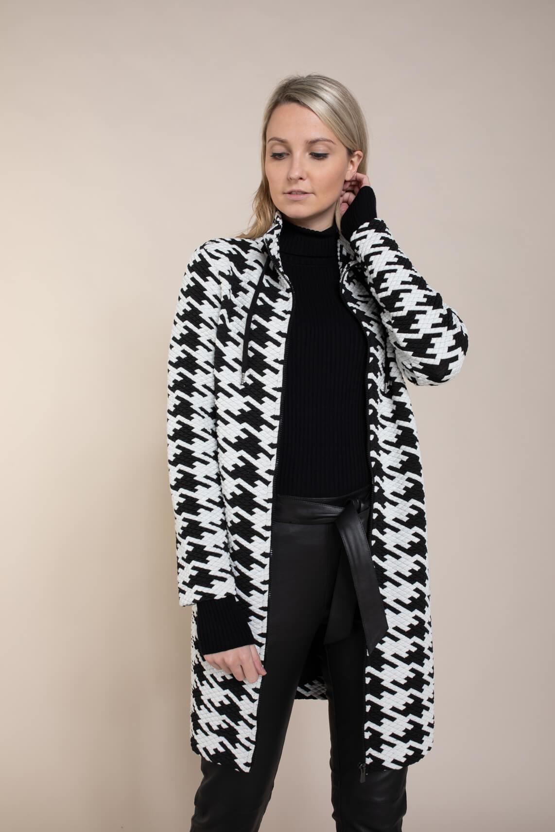 Anna Dames Pied-de-coque vest zwart