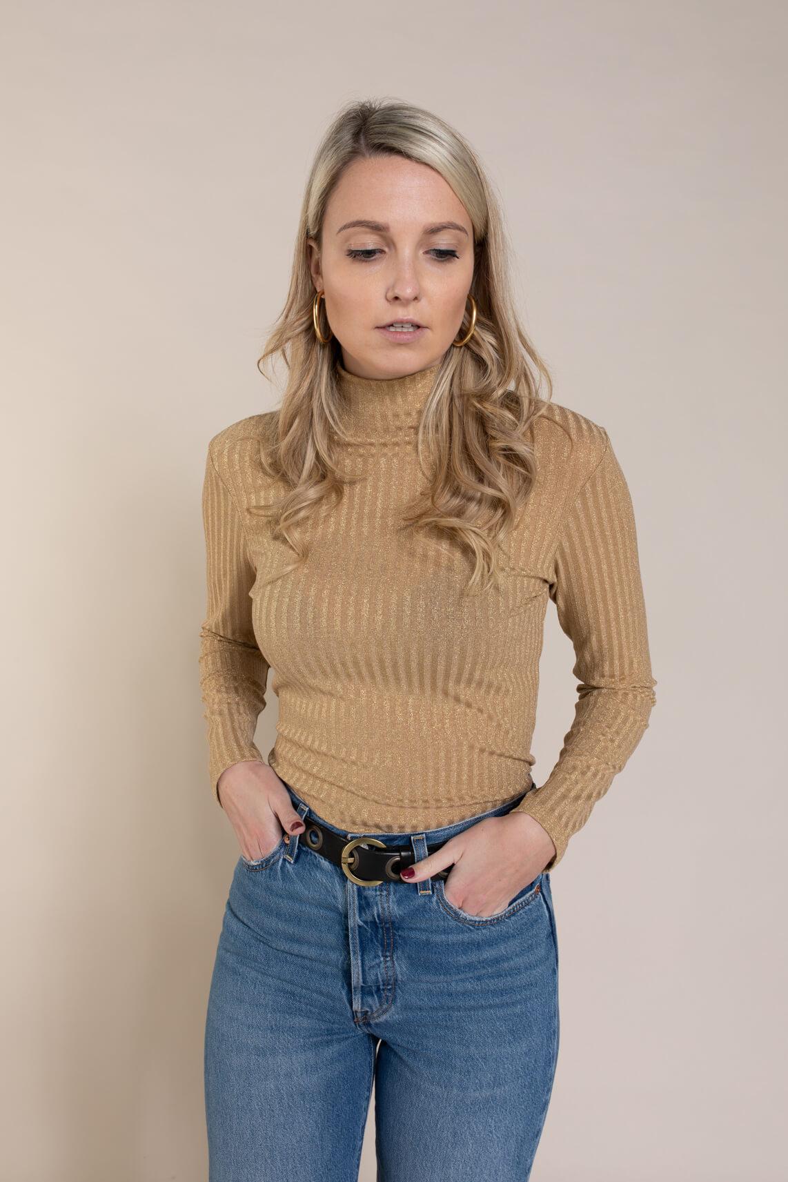 Anna Dames Shirt met glitter Bruin