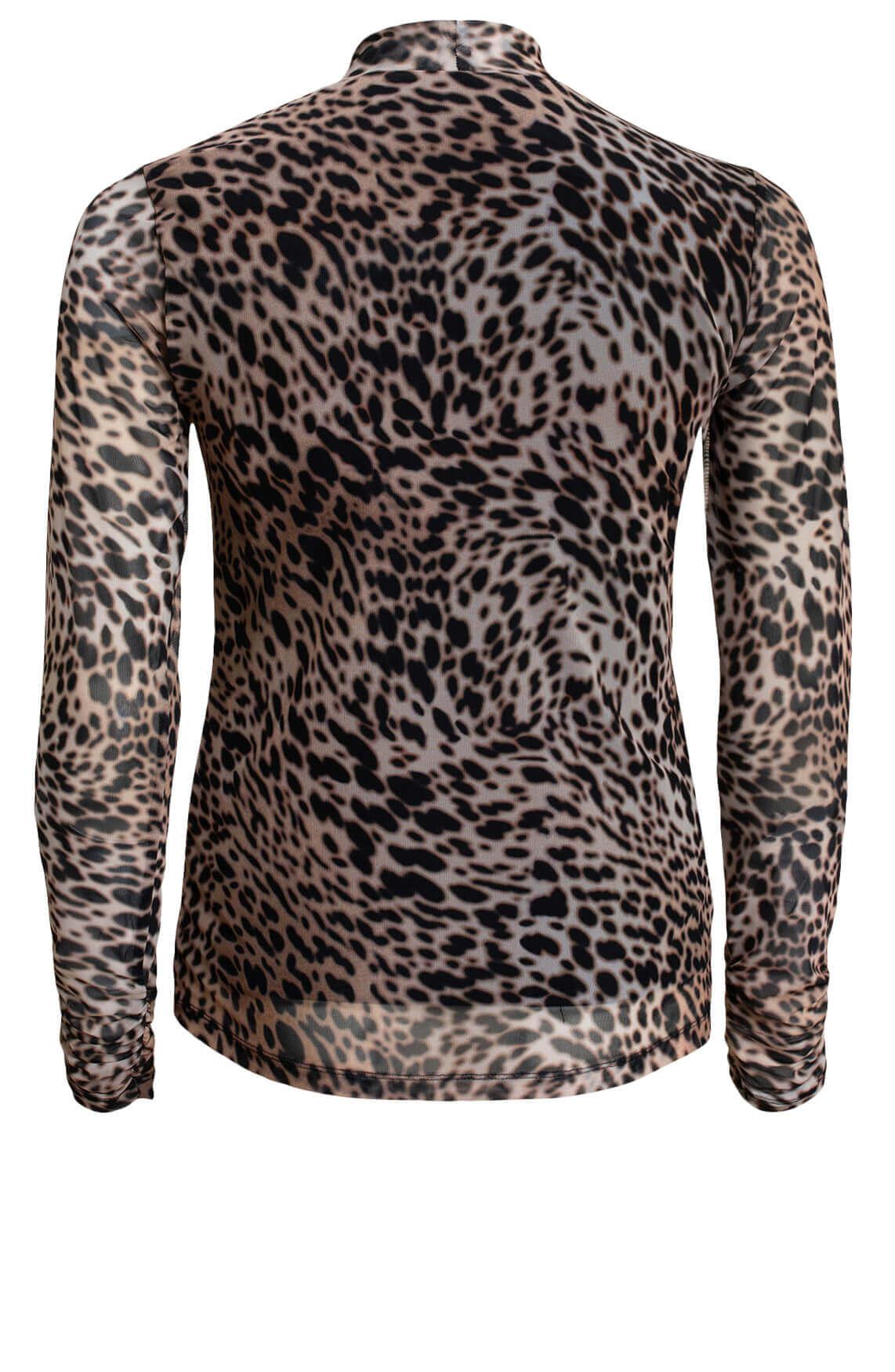 Anna Dames Mesh shirt met animalprint Bruin