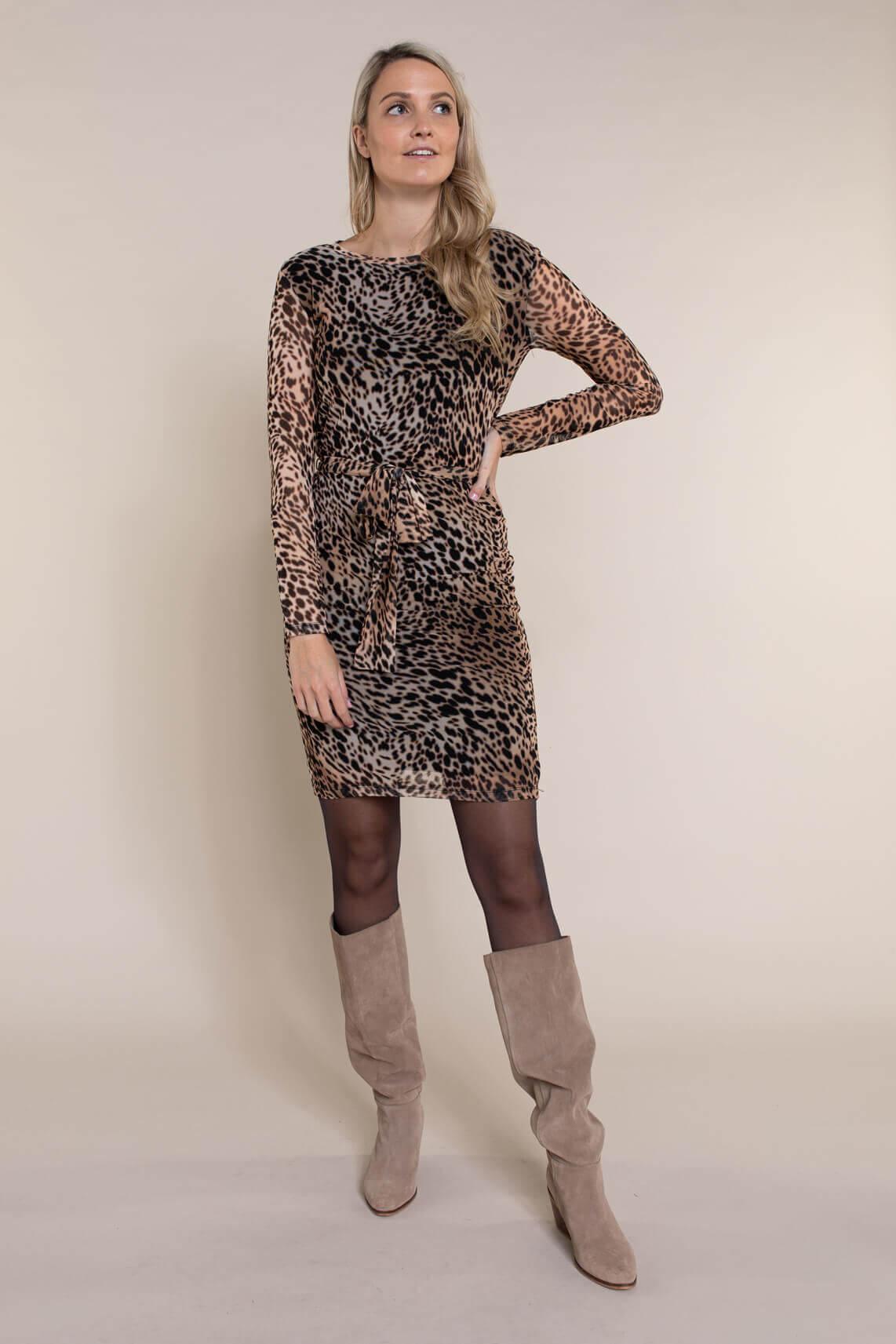 Anna Dames Mesh jurk met animalprint Bruin