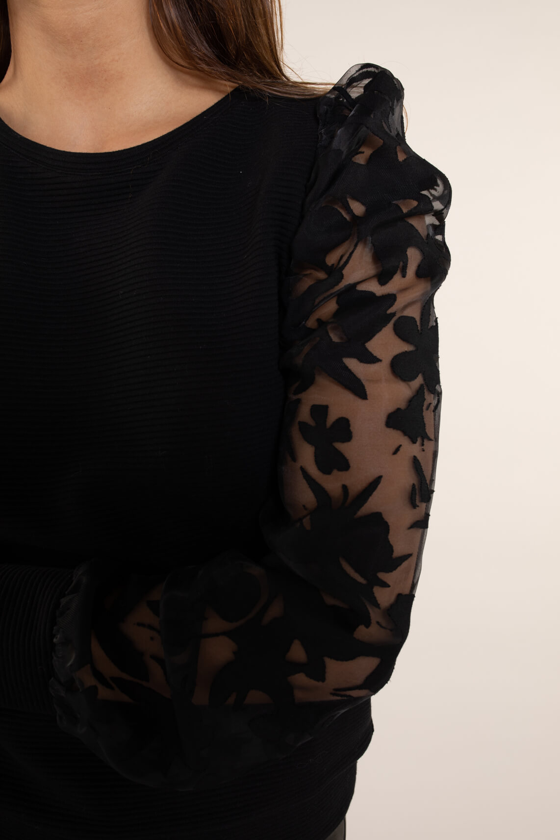 Anna Dames Sweatshirt met organza zwart