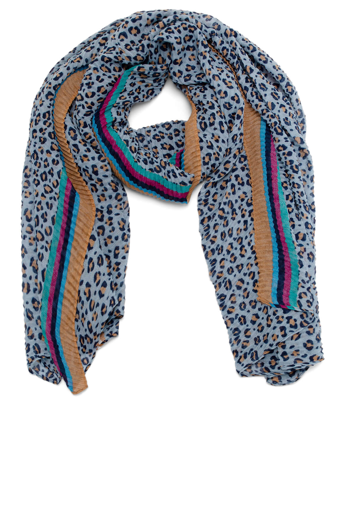 Codello Dames Plissé shawl met panterprint Blauw