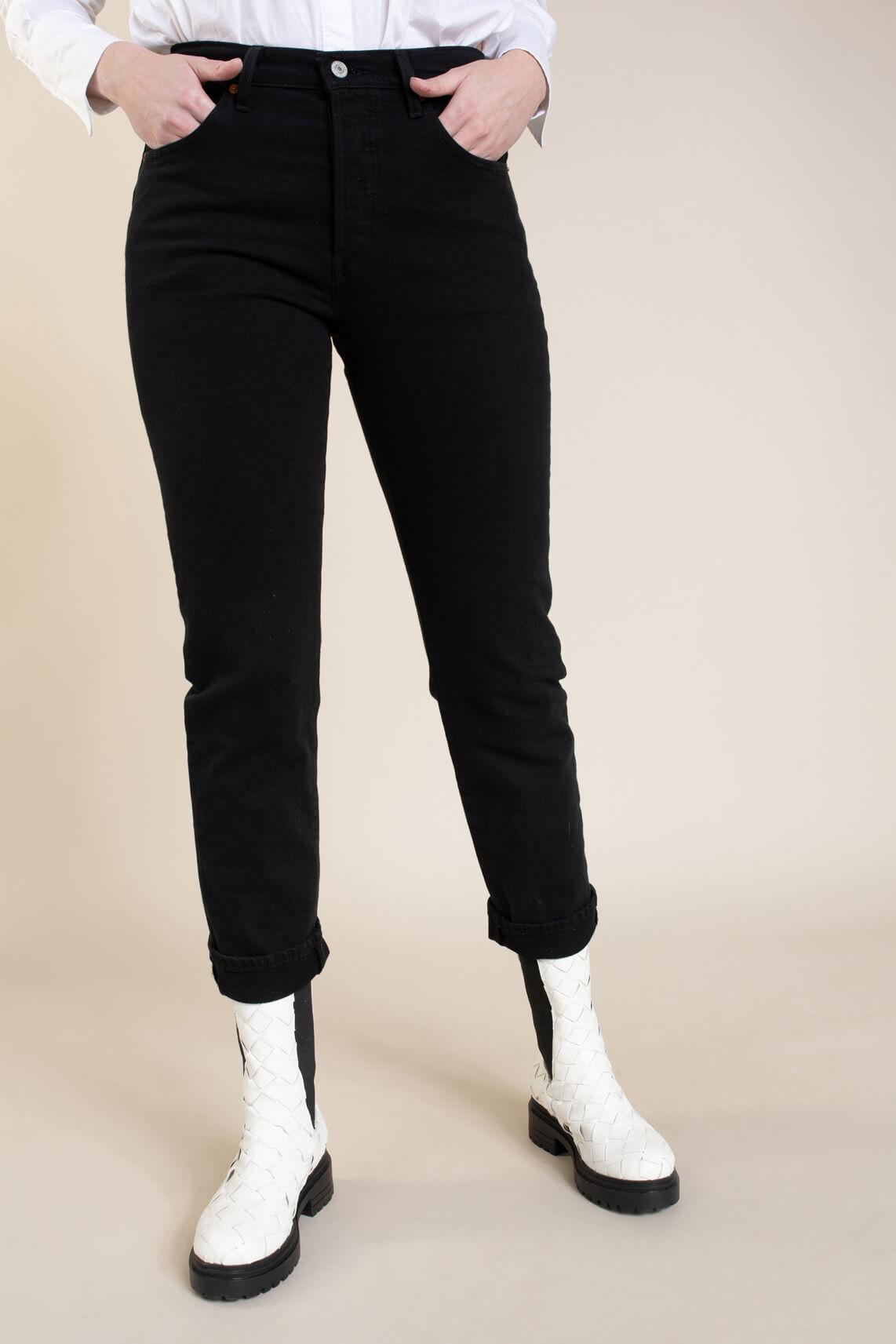 Levi s Dames 501 L30 cropped jeans Zwart