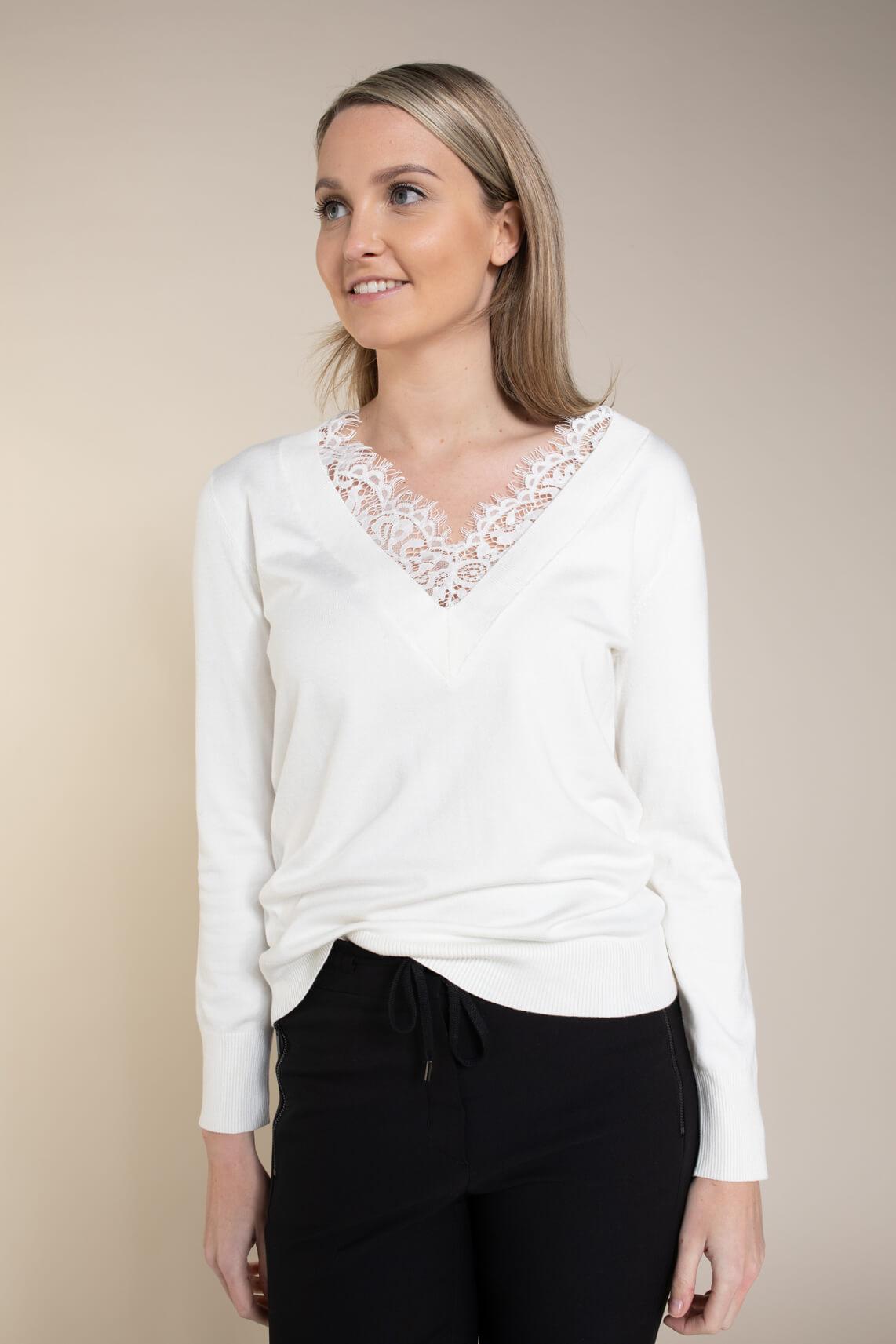 Emotions Dames Shirt met kant wit