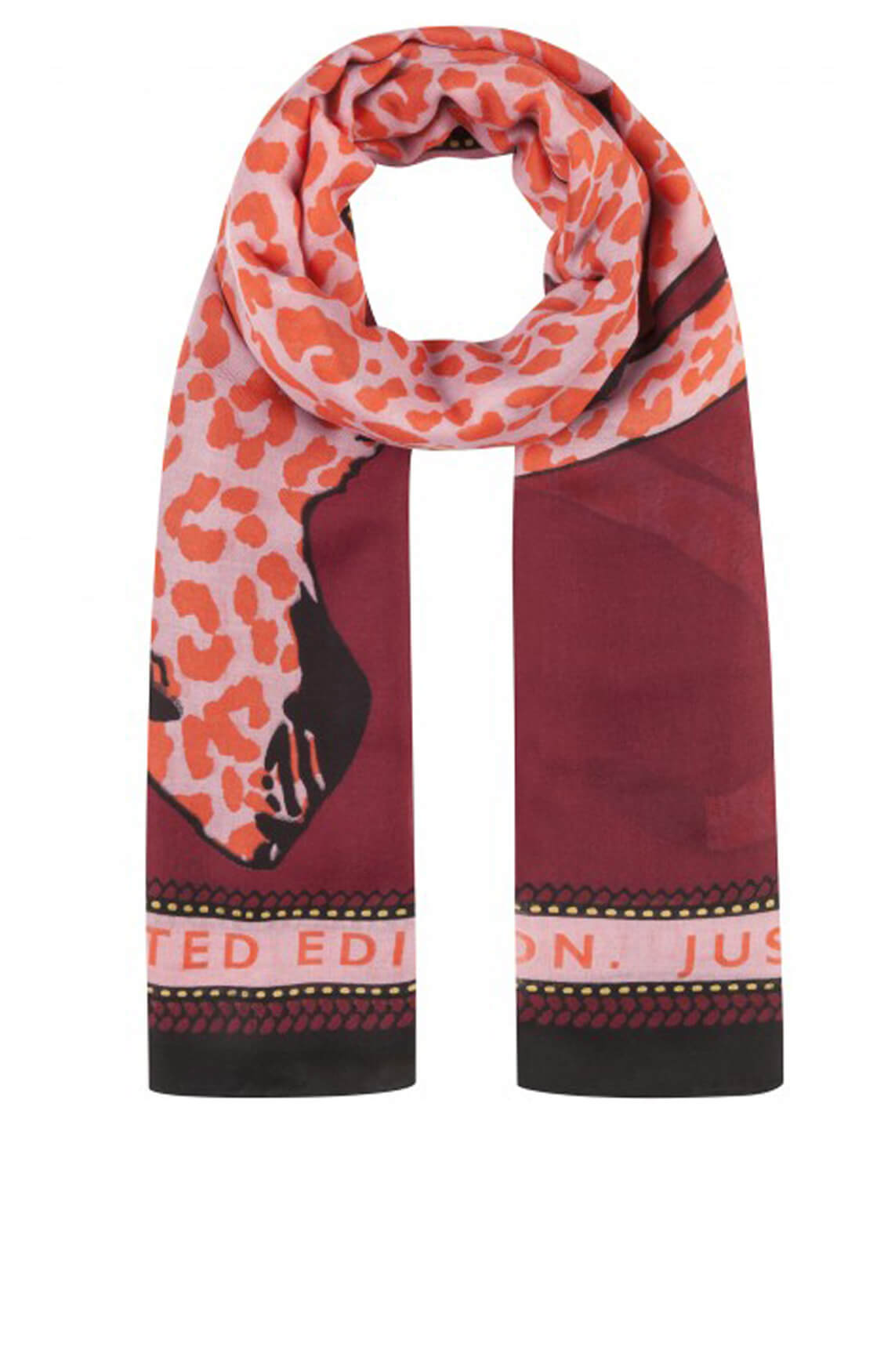 Codello Dames Shawl met luipaardprint roze