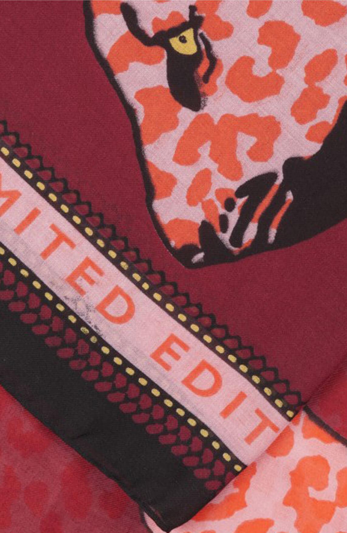 Codello Dames Shawl met luipaardprint roze