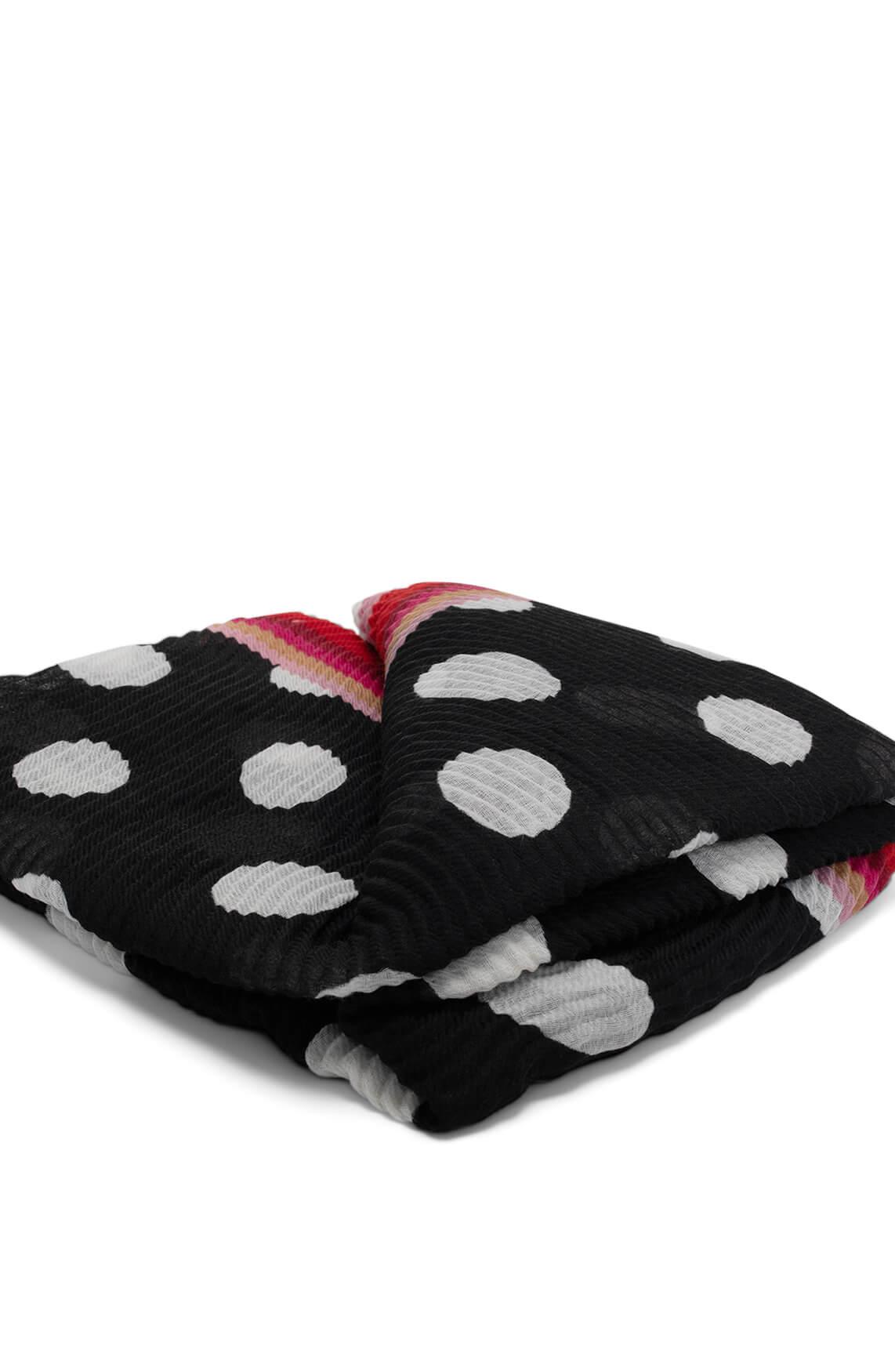 Codello Dames Plissé shawl met cirkelprint zwart