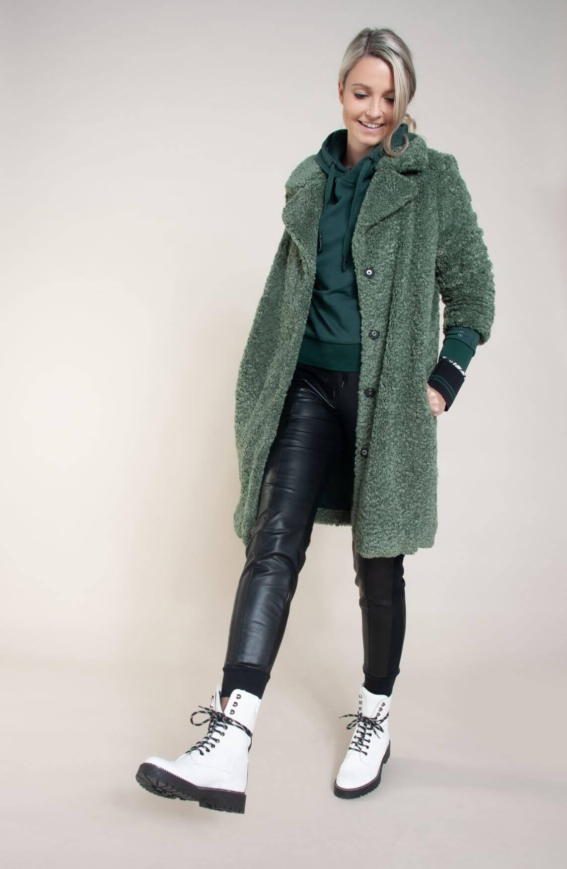 Giacomo Dames Teddy mantel groen
