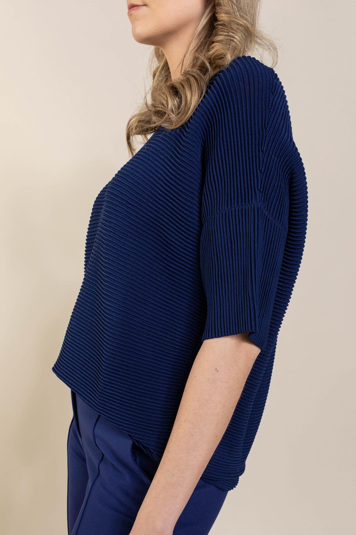 Riani Dames Pullover met ribstructuur Blauw
