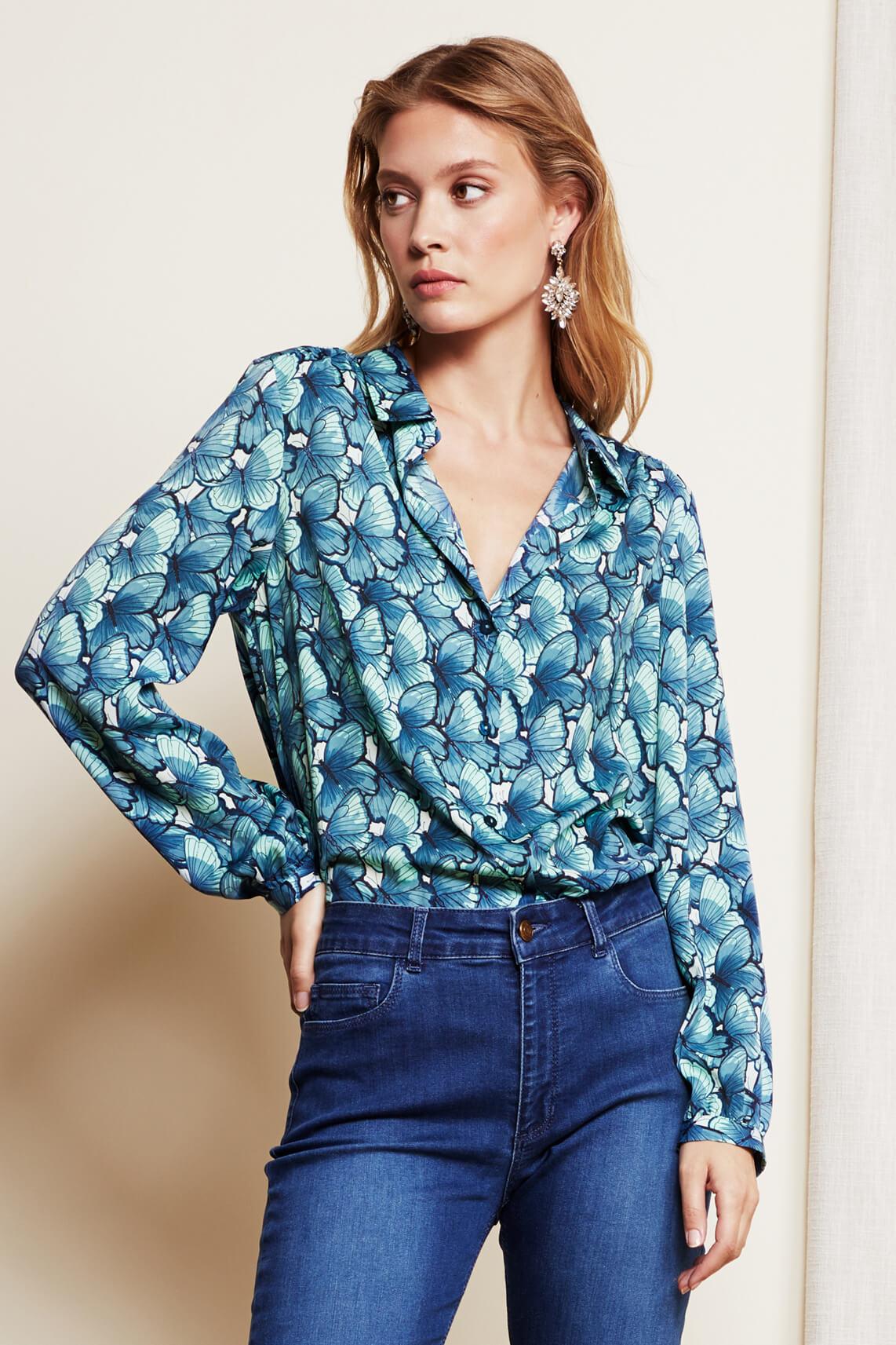 Fabienne Chapot Dames Mira butterfly blouse Blauw