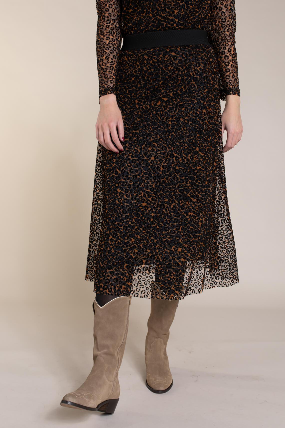 Anna Dames Panterprint mesh rok zwart