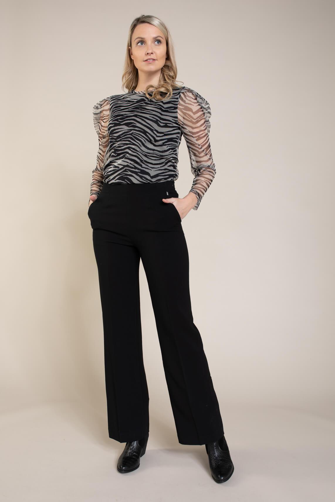 Anna Dames Wijde pantalon zwart