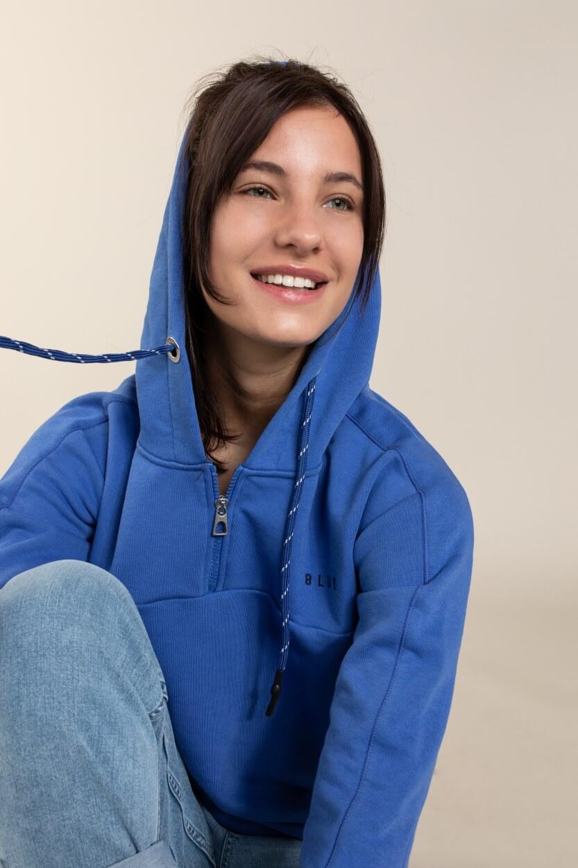 Anna Blue Dames Sweater met capuchon Blauw