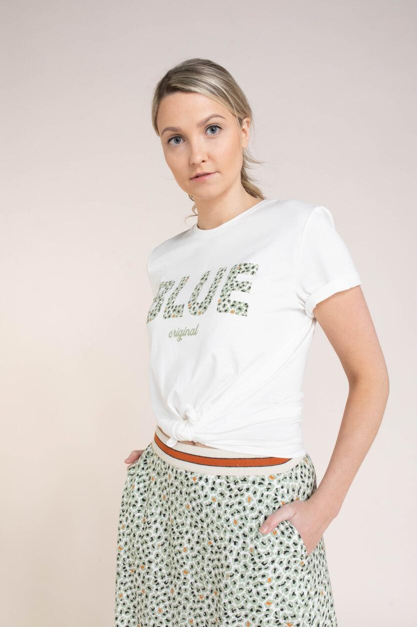 Anna Blue Dames Logo shirt Wit