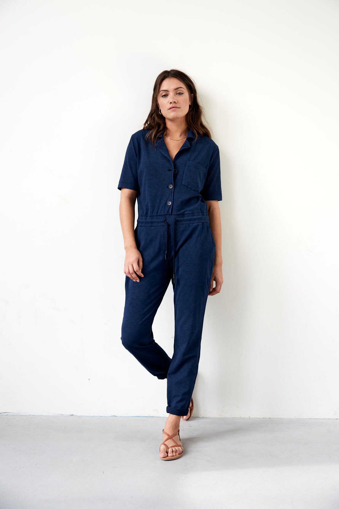 Anna Blue Dames Washed jumpsuit Blauw