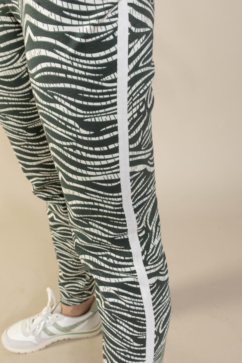 Anna Blue Dames Jogger met bladprint Groen