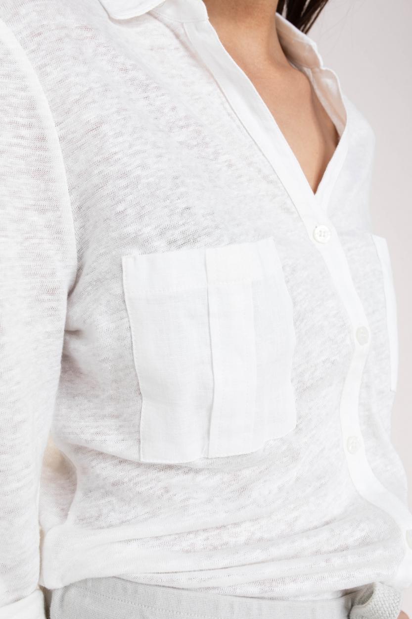 Anna Blue Dames Linnen blouseshirt Wit