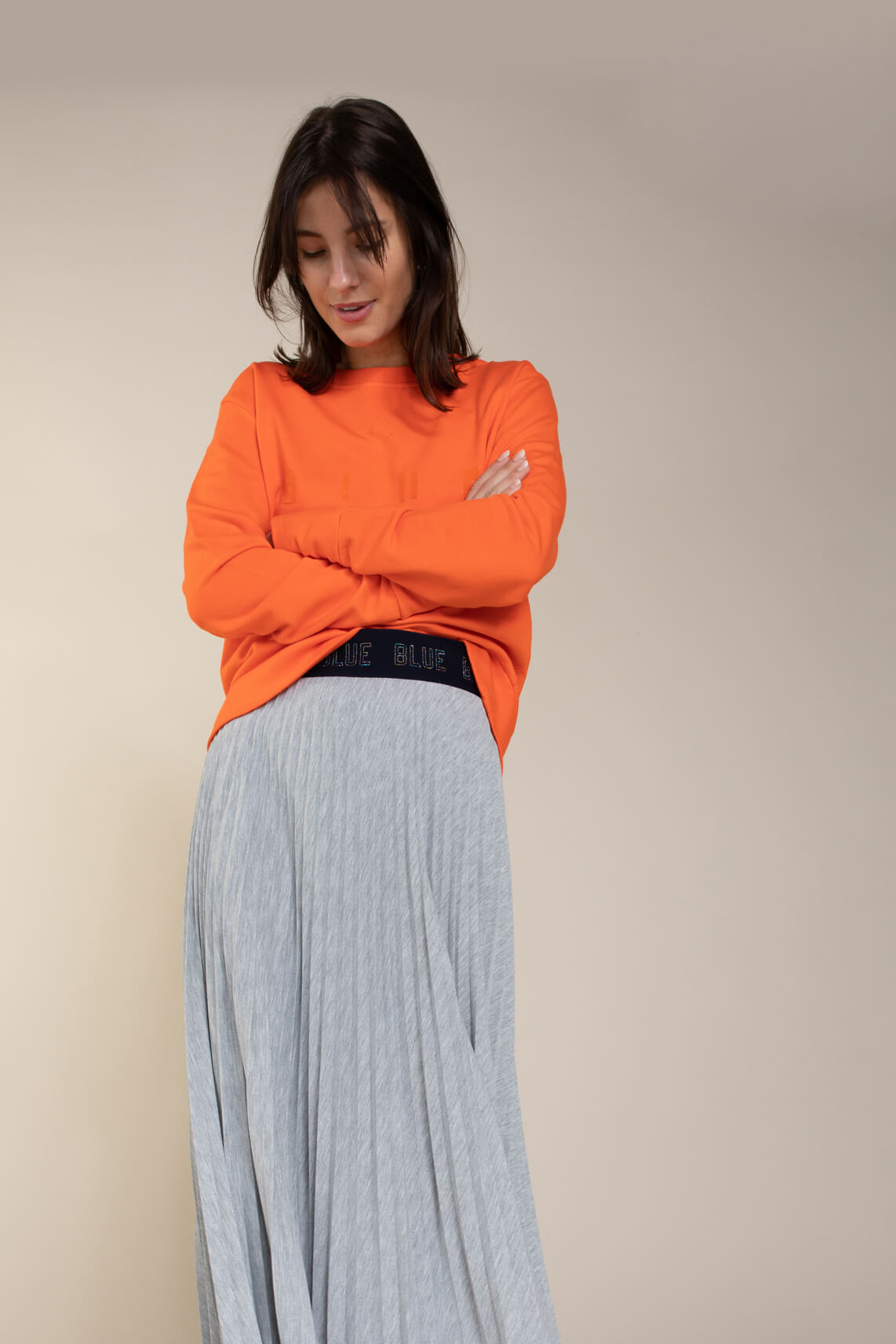Anna Blue Dames Sweater Blue suits you Oranje
