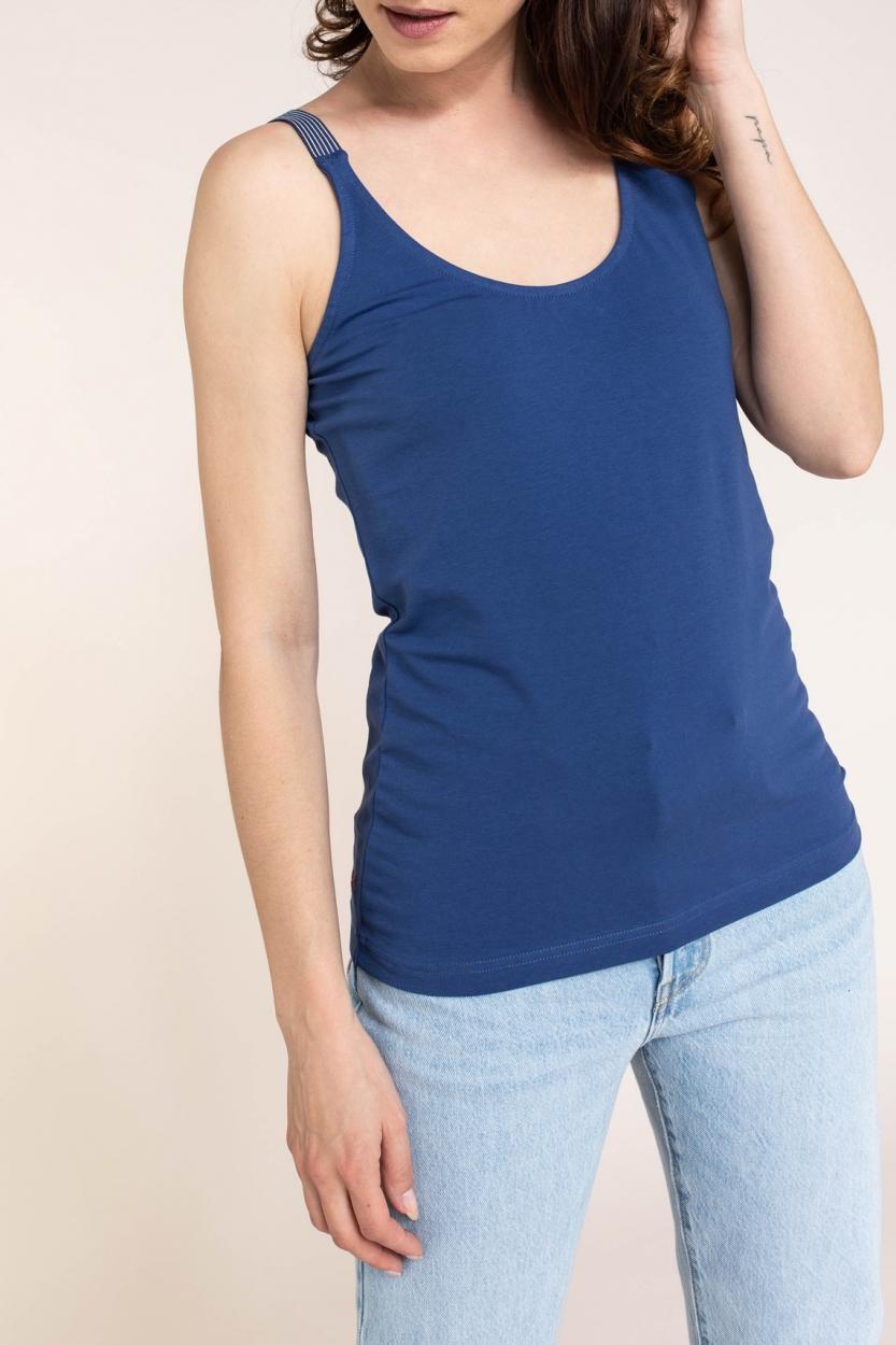 Anna Blue Dames Top met gestreepte bandjes Blauw