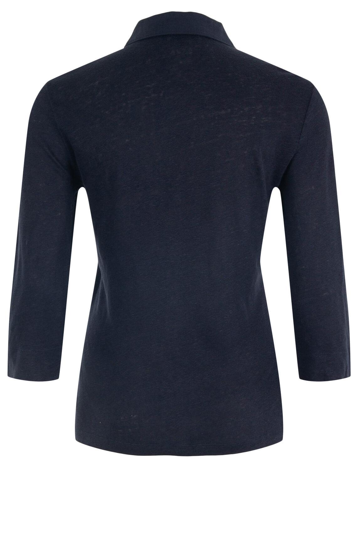 Anna Blue Dames Linnen blouseshirt Blauw