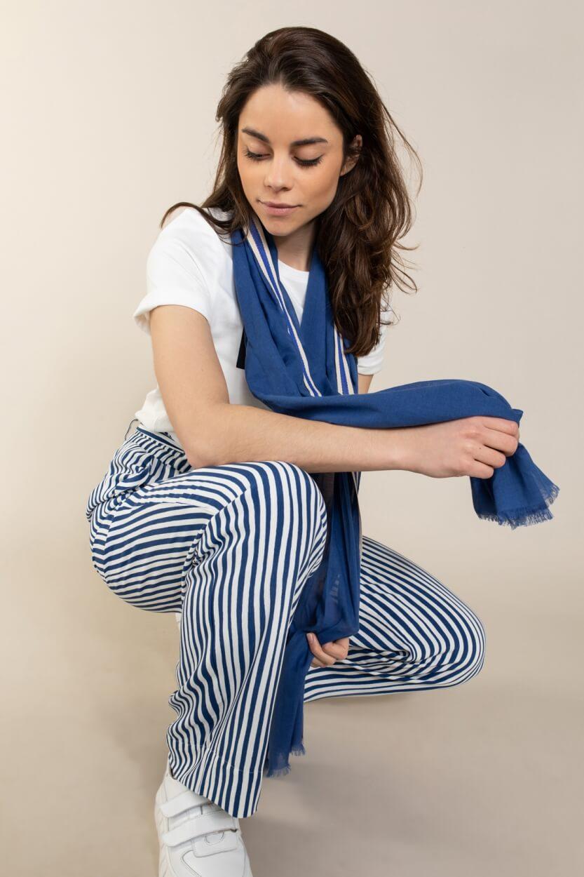 Anna Blue Dames Gestreepte broek Blauw