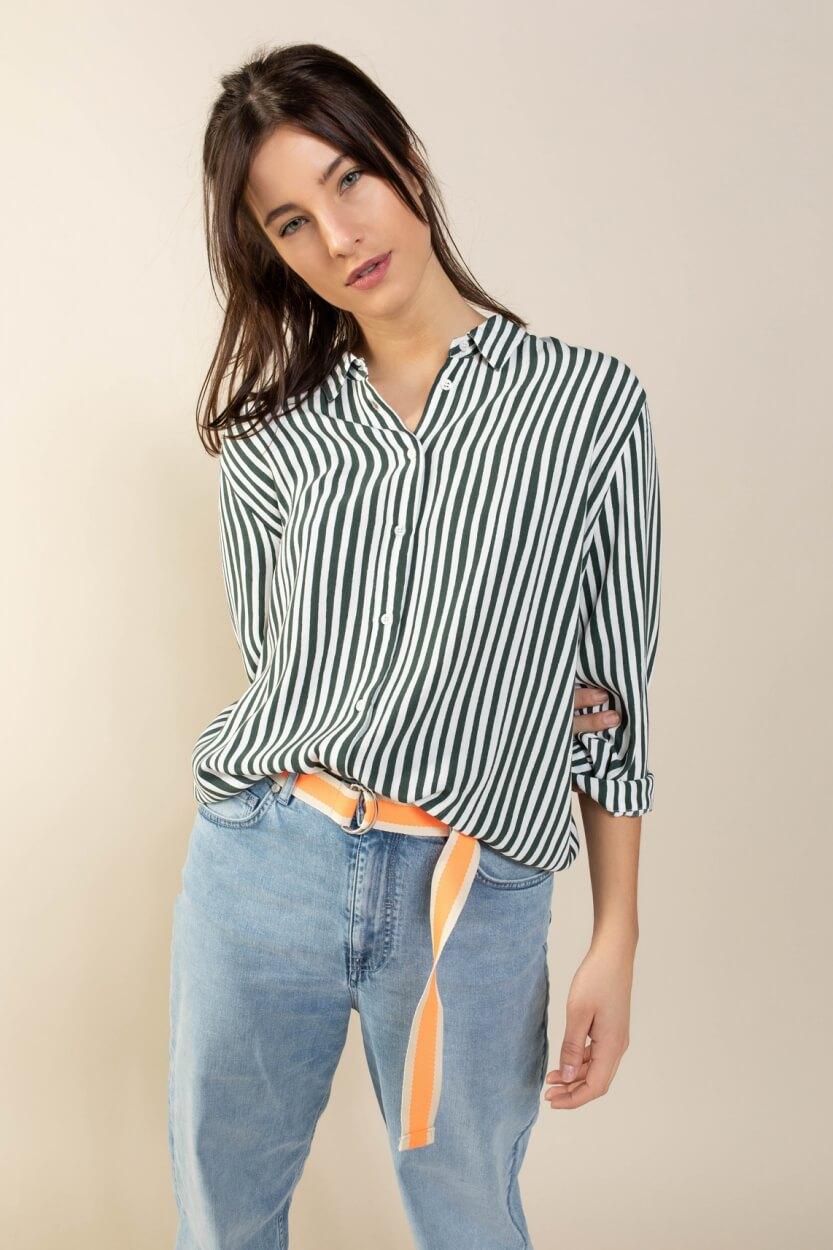 Anna Blue Dames Gestreepte blouse Groen