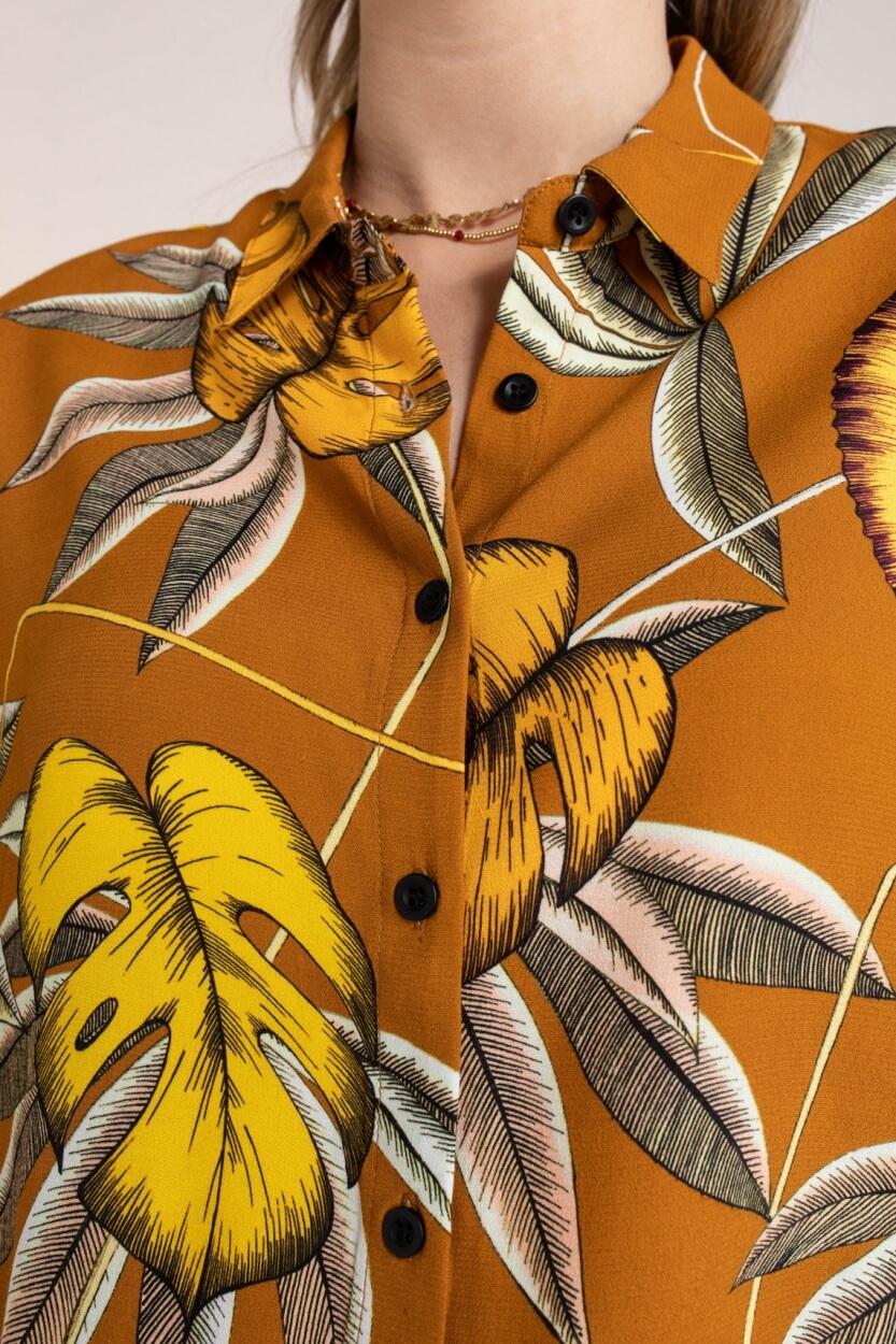 Anna Blue Dames Blouse met tropische print Bruin