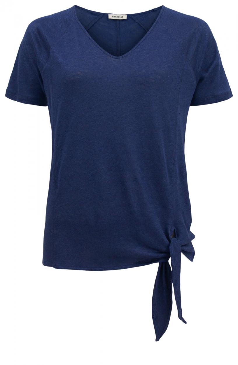Anna Blue Dames Linnen shirt met knoop Blauw
