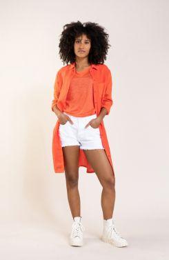 Anna Blue Dames Linnen shirt Oranje