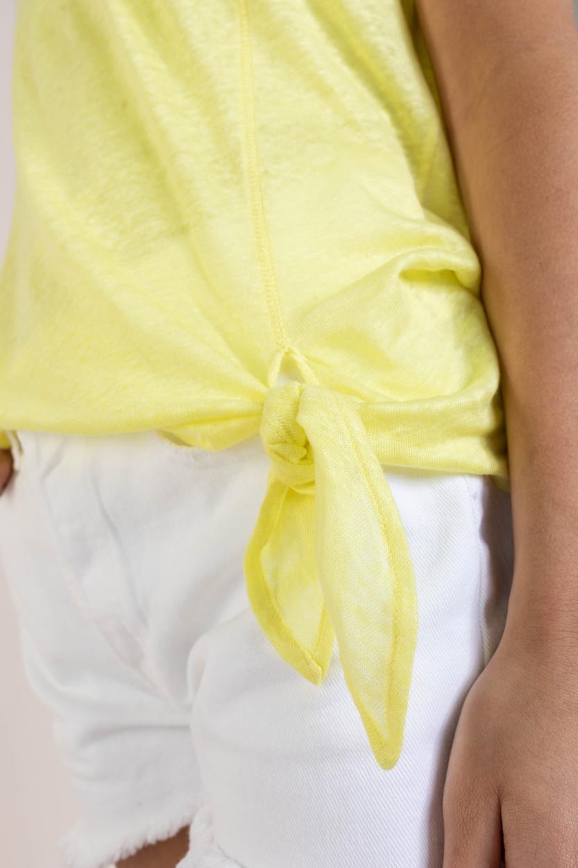 Anna Blue Dames Linnen shirt met knoop Geel
