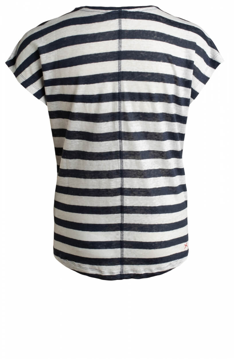 Anna Blue Dames Gestreept linnen shirt Wit