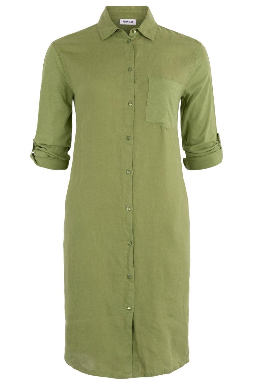 Anna Blue Dames Materiaalmix jurk Groen