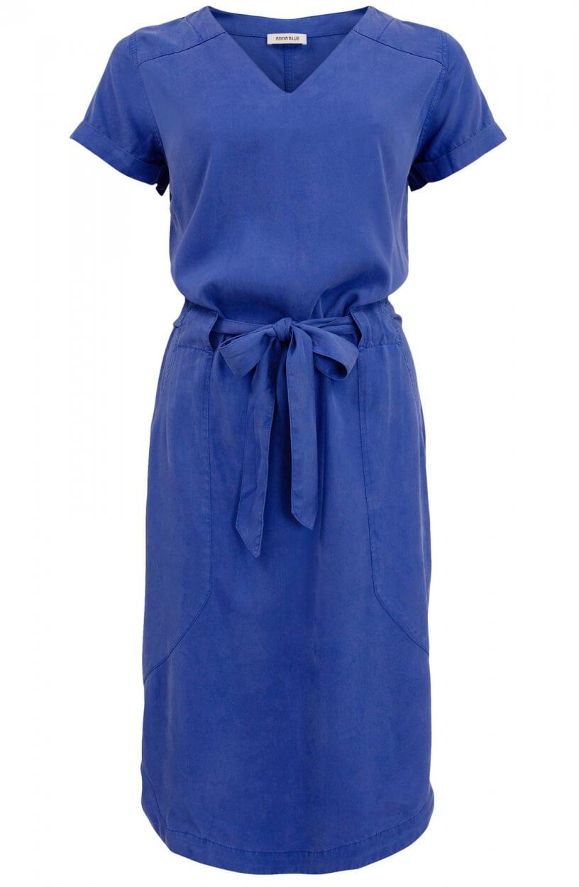 Anna Blue Dames Jurk met garment dye Blauw