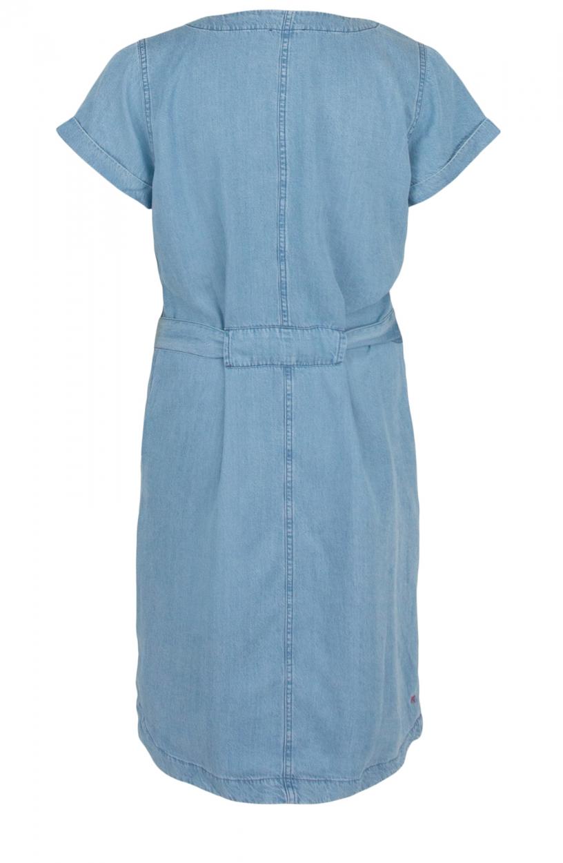 Anna Blue Dames Denim jurk met ceintuur Blauw