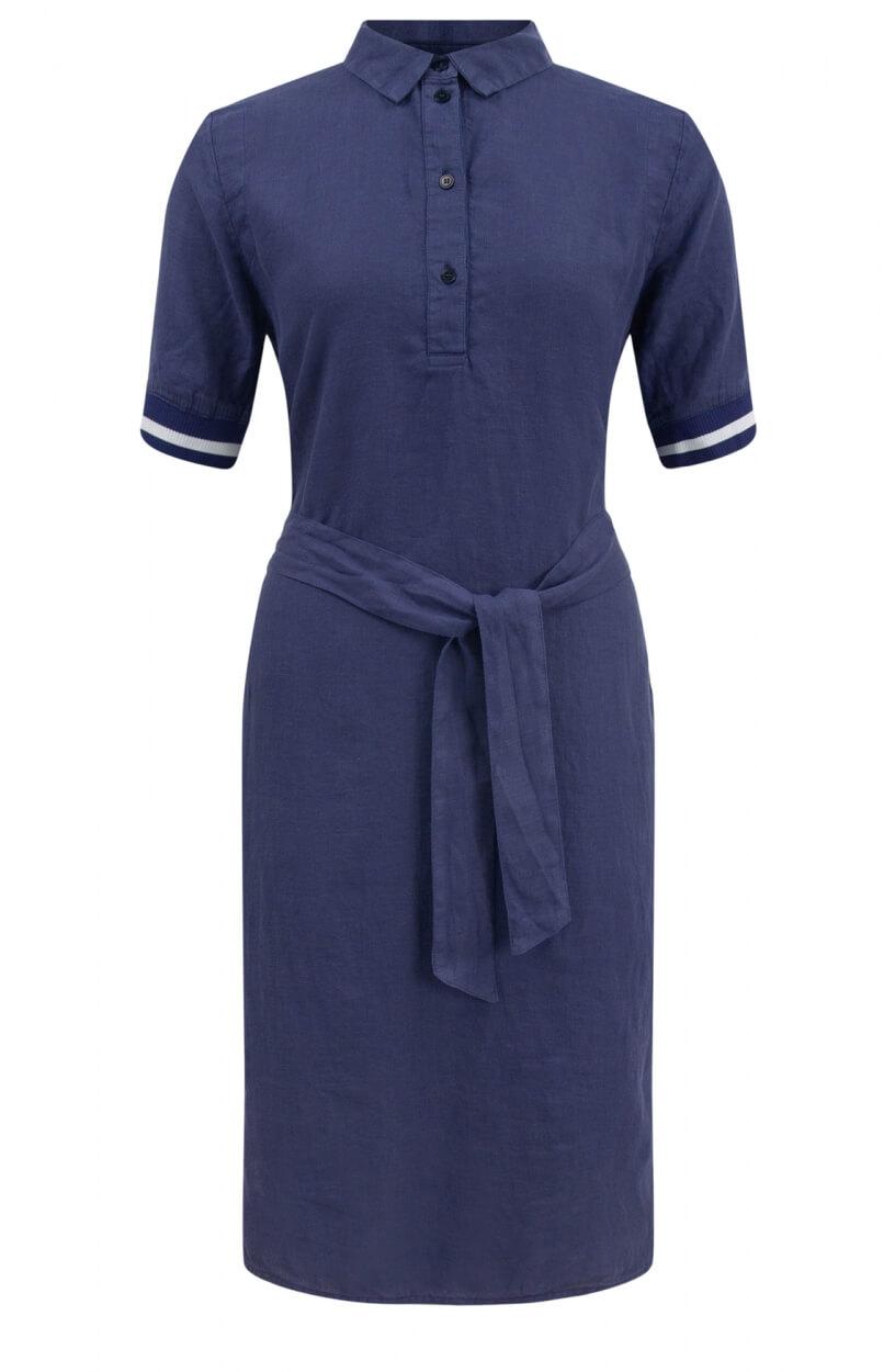 Anna Blue Dames Linnen jurk met ceintuur Blauw