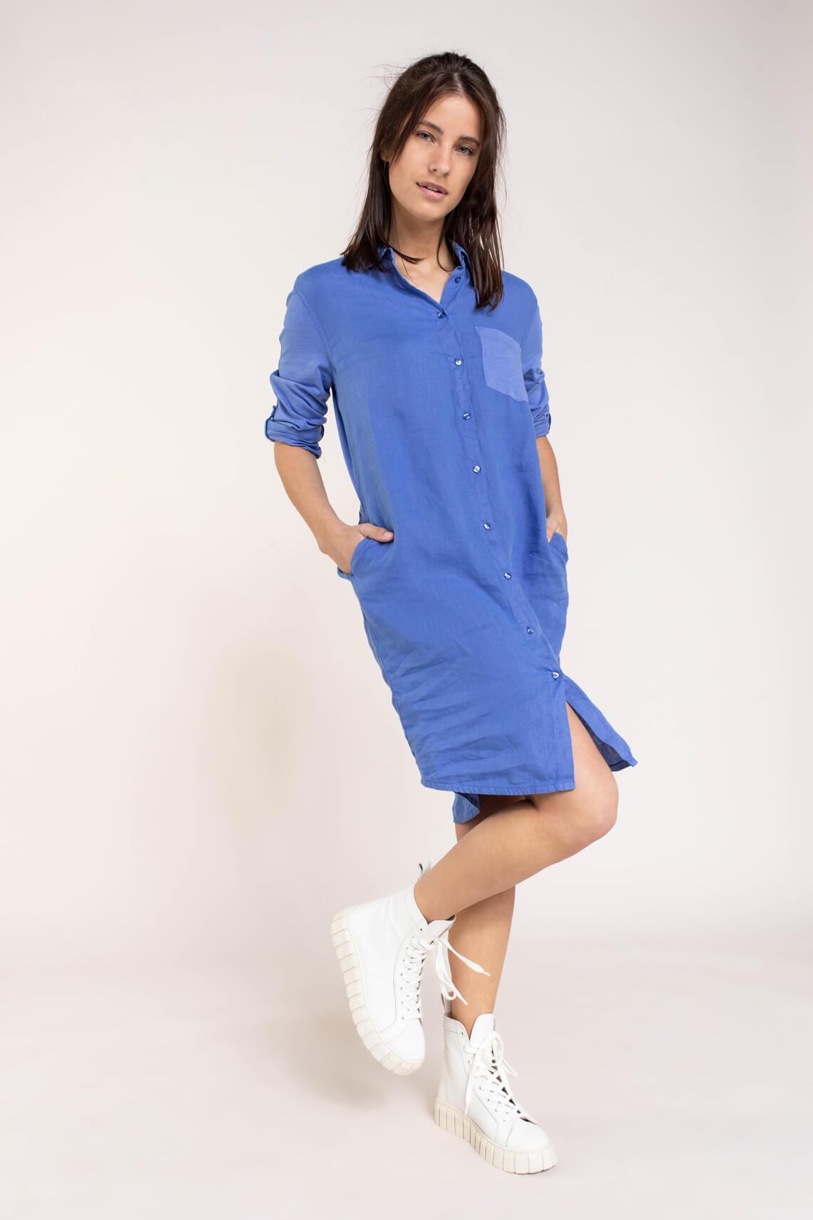 Anna Blue Dames Linnen jurk Blauw