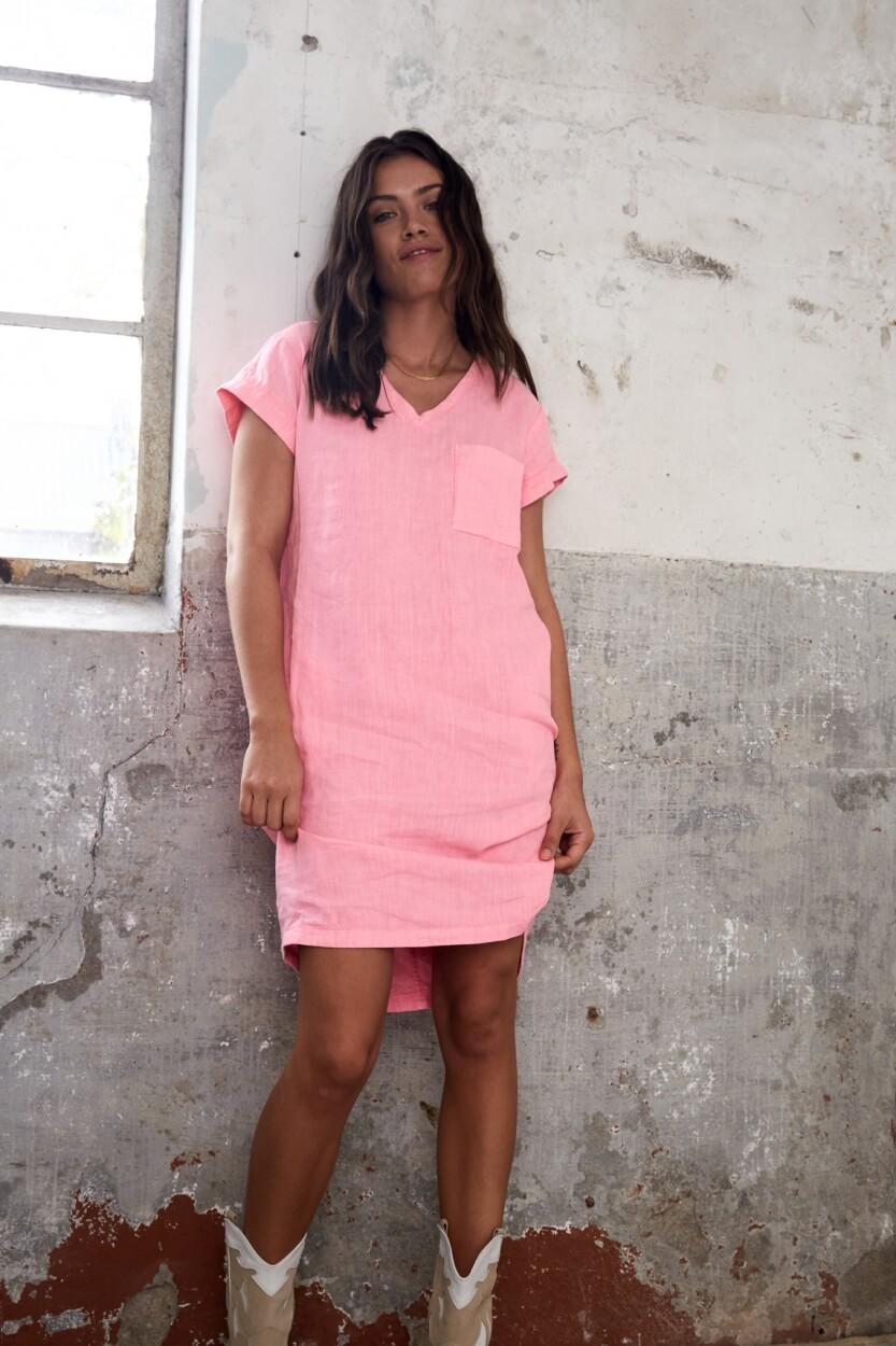Anna Blue Dames Linnen jurk met bies Roze