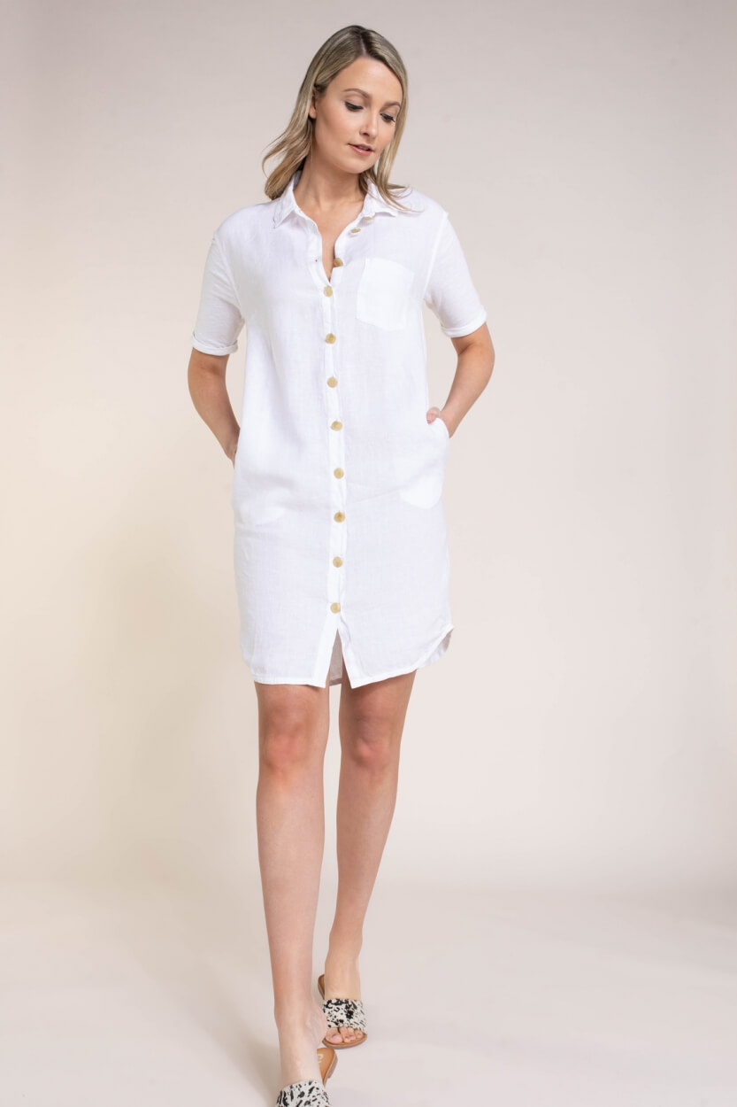 Anna Blue Dames Linnen jurk met knopen Wit