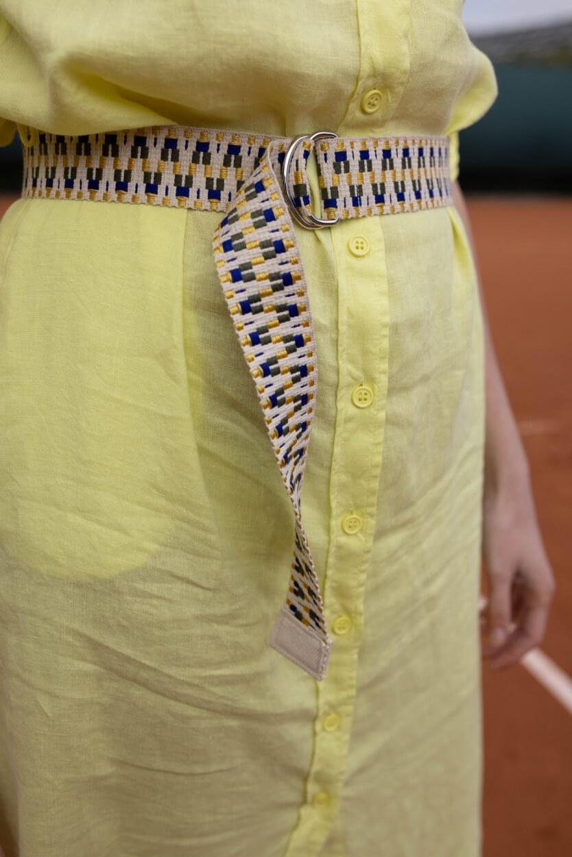 Anna Blue Dames Materiaalmix jurk met ceintuur Geel